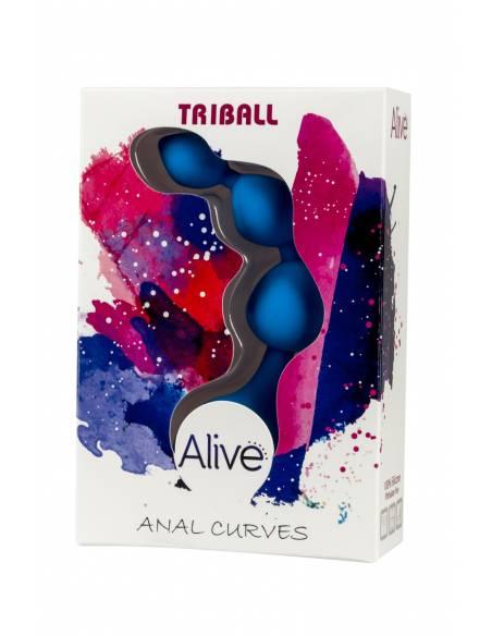 Plug chaine anal Triball silicone bleu dans sa boite
