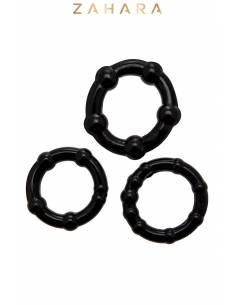 Set de 3 Cockrings noir Zahara